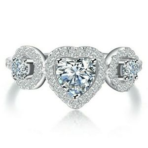 Jewelry - Brilliant Heart Cut 926 Sterling Silver Ring